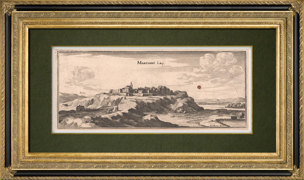Grabados & Dibujos Antiguos | Vista de la ciudad de Montigny-le-Roi en el siglo XVII - Alto Marne (Francia) | Grabado calcográfico | 1661