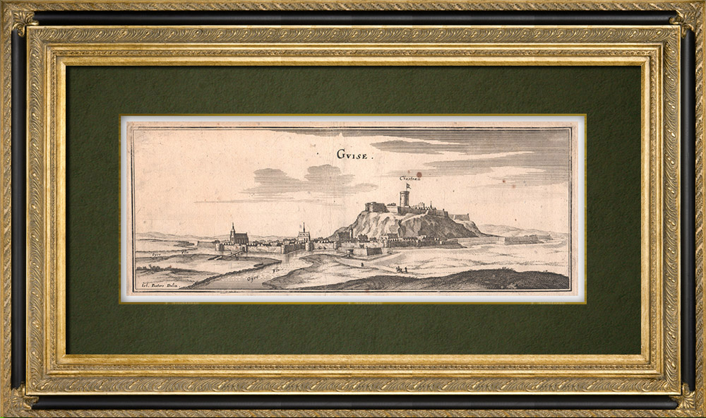 Antique Prints & Drawings | View of the city of Guise in the 17th century - Aisne (France) | Copper engraving | 1661