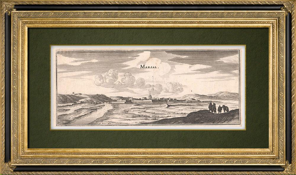 Gravures Anciennes & Dessins   Vue de la ville de Marsal au XVIIème siècle - Moselle  (France)   Gravure sur cuivre   1661