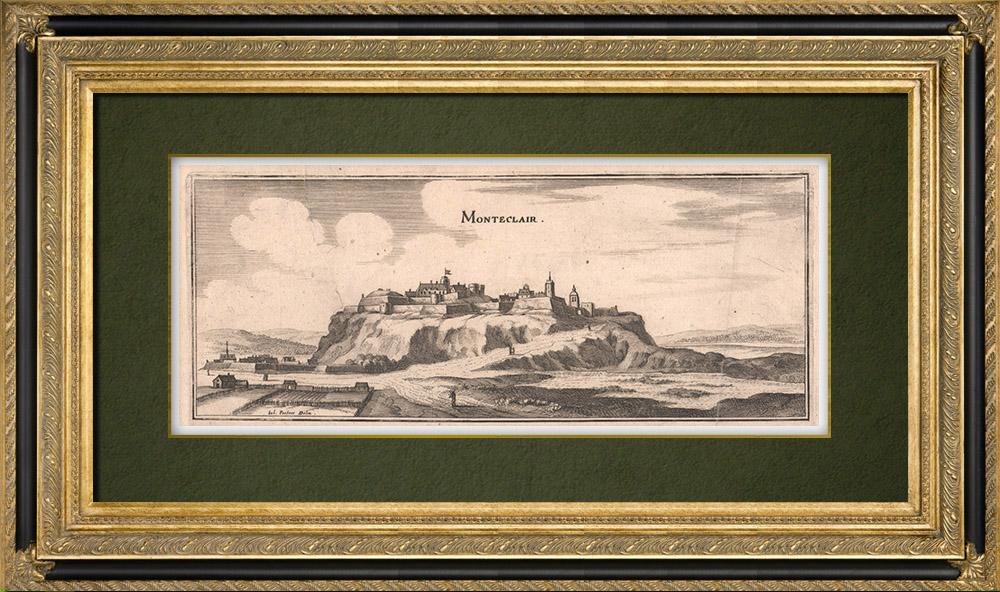 Gravures Anciennes & Dessins | Vue de la ville de Monteclair au XVIIème siècle (France) | Gravure sur cuivre | 1661