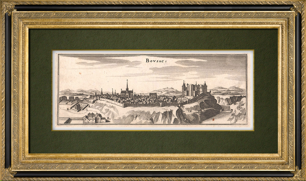 Antique Prints & Drawings | View of the city of Boussac in the 17th century - Creuse (France) | Copper engraving | 1661