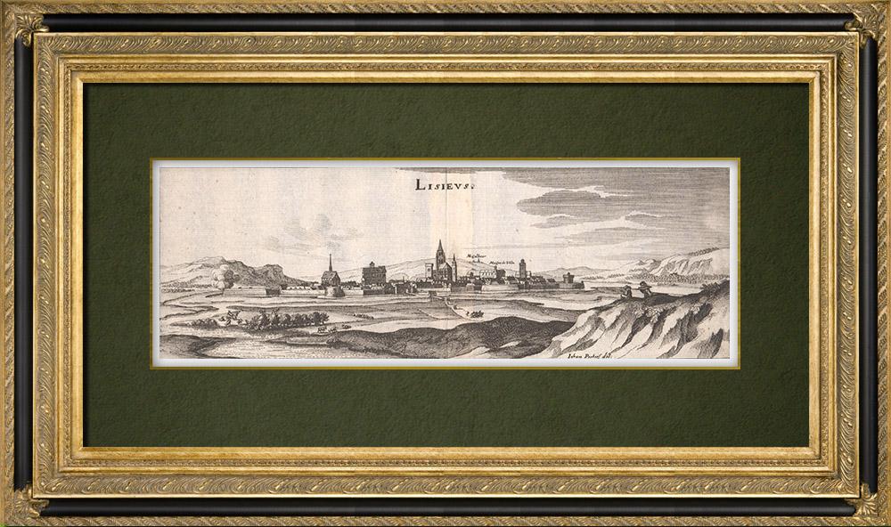Grabados & Dibujos Antiguos   Vista de la ciudad de Lisieux en el siglo XVII - Calvados (Francia)   Grabado calcográfico   1661