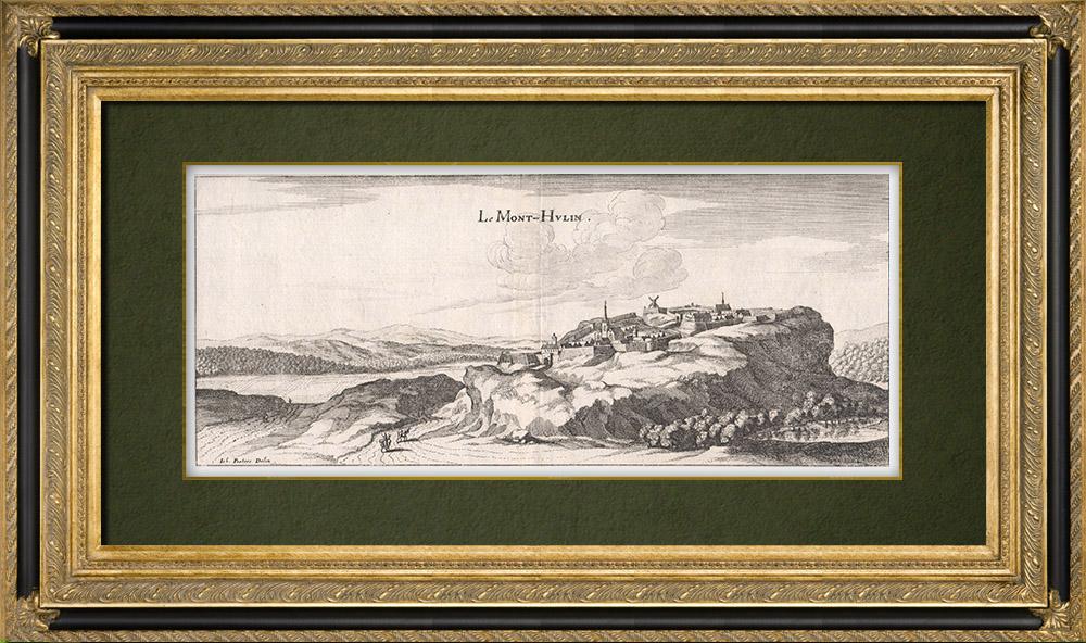 Gravures Anciennes & Dessins | Vue du Mont Hulin au XVIIème siècle - Pas-de-Calais (France) | Gravure sur cuivre | 1661