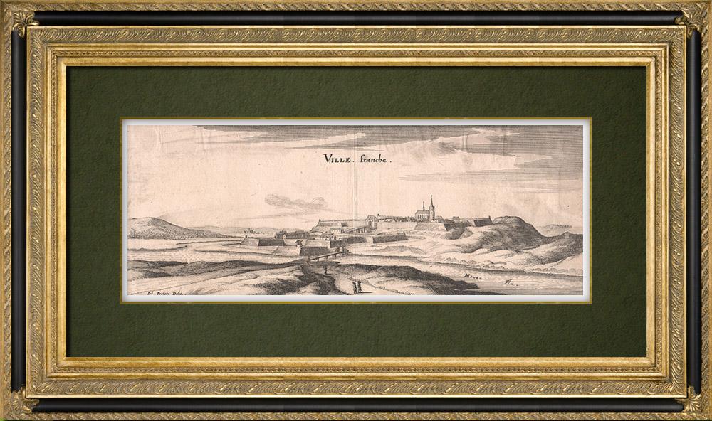 Gravures Anciennes & Dessins | Vue de la ville de Villefranche au XVIIème siècle - Meuse (France) | Gravure sur cuivre | 1661