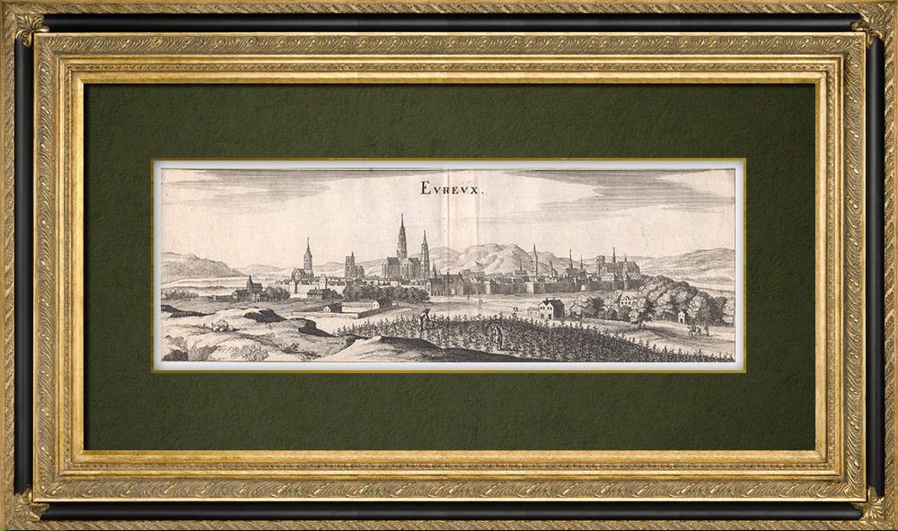 Gravures Anciennes & Dessins | Vue de la ville de Évreux au XVIIème siècle - Eure (France) | Gravure sur cuivre | 1661