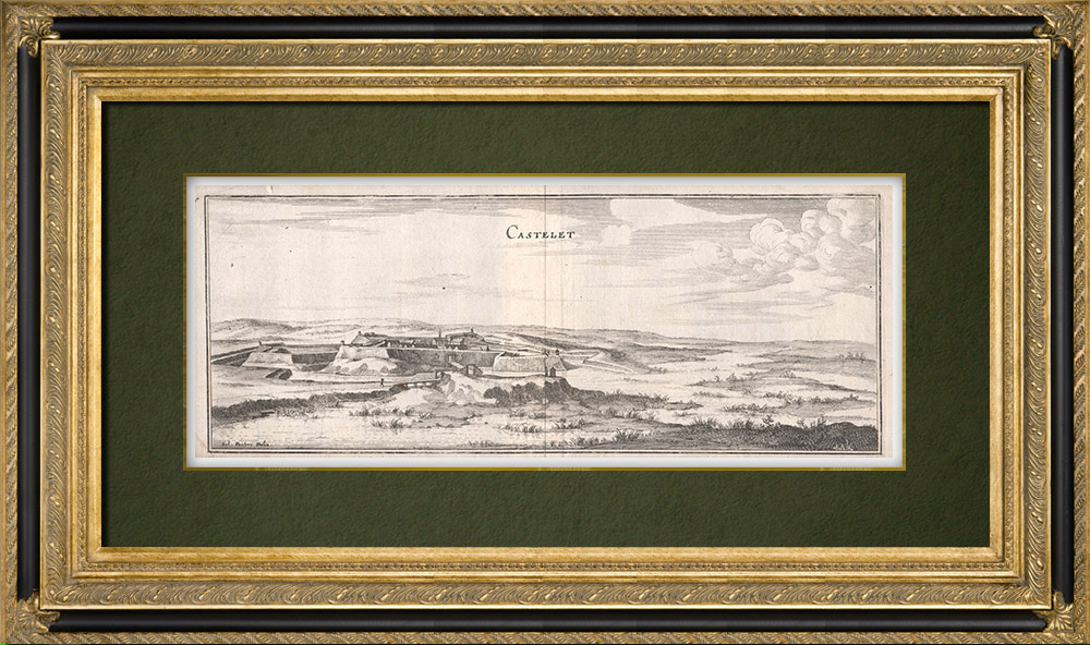 Antique Prints & Drawings   View of the city of Le Castellet in the 17th century - Var (France)   Copper engraving   1661