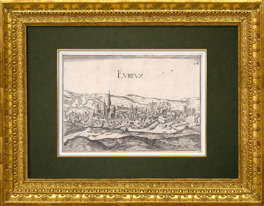 Antique Prints & Drawings   View of the city of Évreux in the 17th century - Eure (France)   Copper engraving   1661