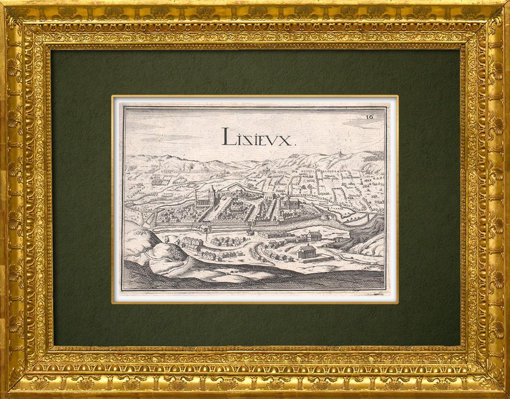 Grabados & Dibujos Antiguos | Vista de la ciudad de Lisieux en el siglo XVII - Calvados (Francia) | Grabado calcográfico | 1661