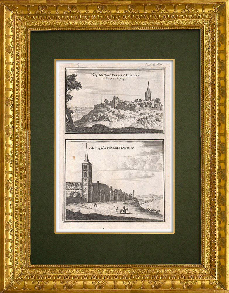 Antique Prints & Drawings | View of the city of Flavigny in the 17th century - Church - Côte-d'Or (France) | Copper engraving | 1661