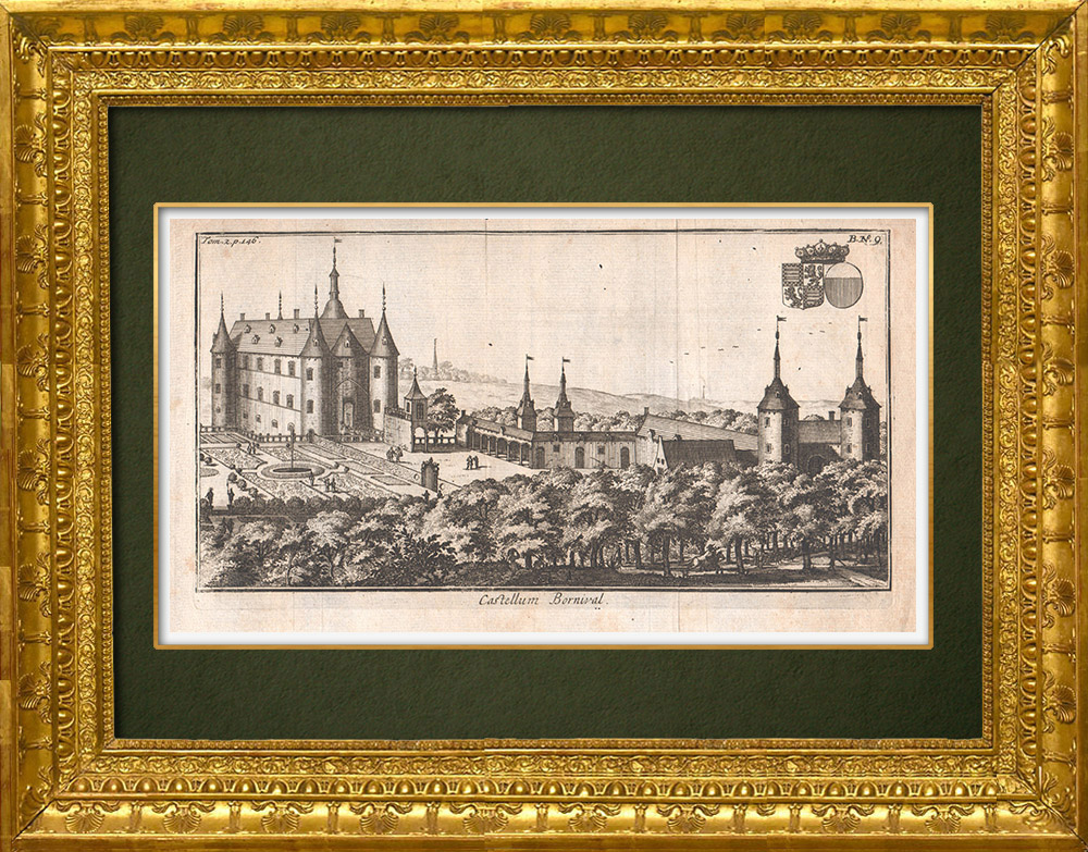 Antique Prints & Drawings | View of the Bornival castle in the 17th century - Wallonia (Belgium) | Copper engraving | 1661