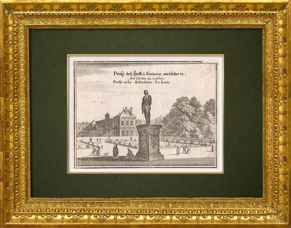 Gravures Anciennes & Dessins   Vue de la ville de Paris au XVIIème siècle - Hotel de Fontaine - Jardin - Statue (France)   Gravure sur cuivre   1661