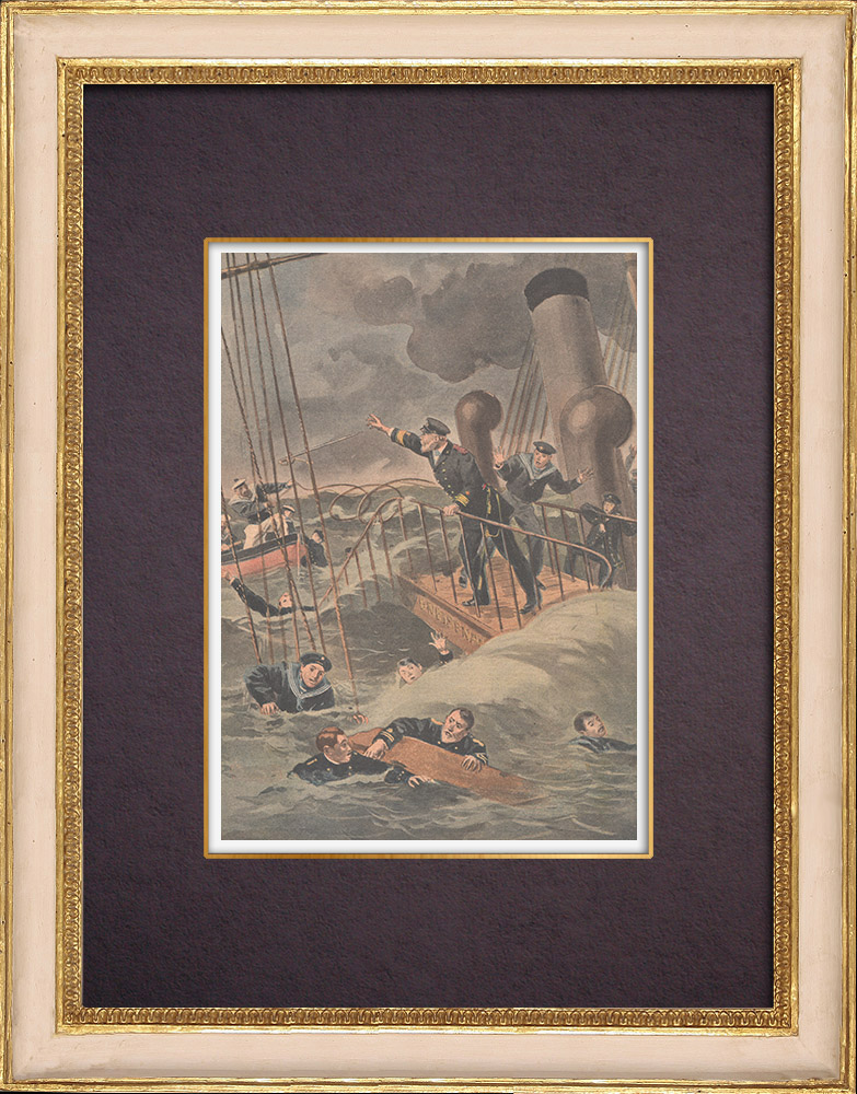 Antique Prints & Drawings | Shipwreck of the German school-ship Gneisenau - 1901 | Wood engraving | 1901