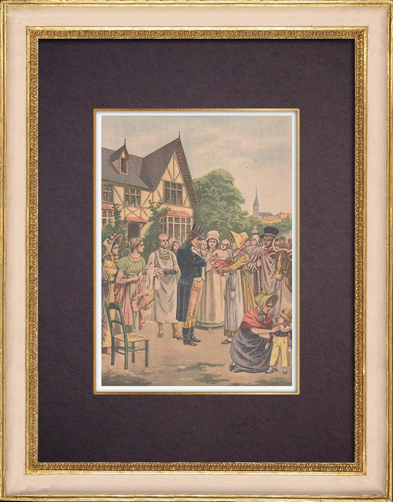 Gravures Anciennes & Dessins   Edward Jenner - Vaccination contre la variole   Gravure sur bois   1901