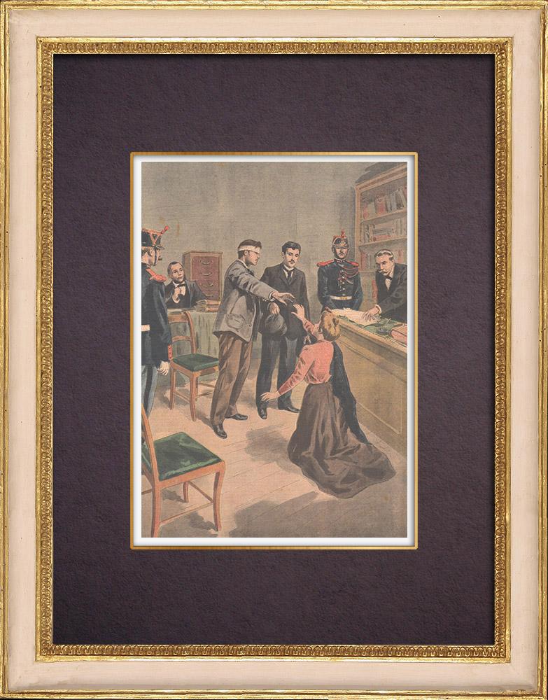 Gravures Anciennes & Dessins | Une femme attaque un homme au vitriol - 1901 | Gravure sur bois | 1901