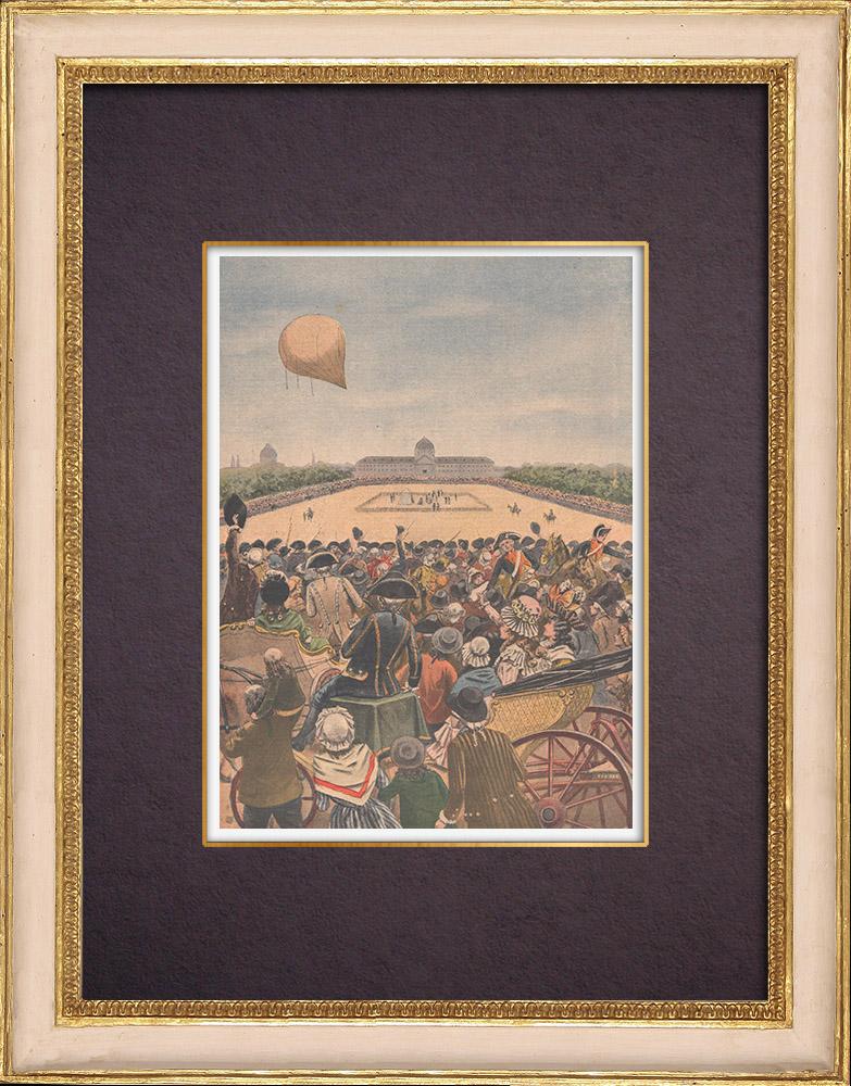 Antique Prints & Drawings | Invention of the aerostat - Flight of an aerostat - Champ-de-Mars - Paris | Wood engraving | 1901