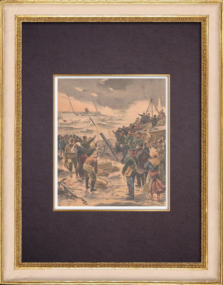 Antique Prints & Drawings | Shipwreck of La Russie - Faraman - France - 1901 | Wood engraving | 1901