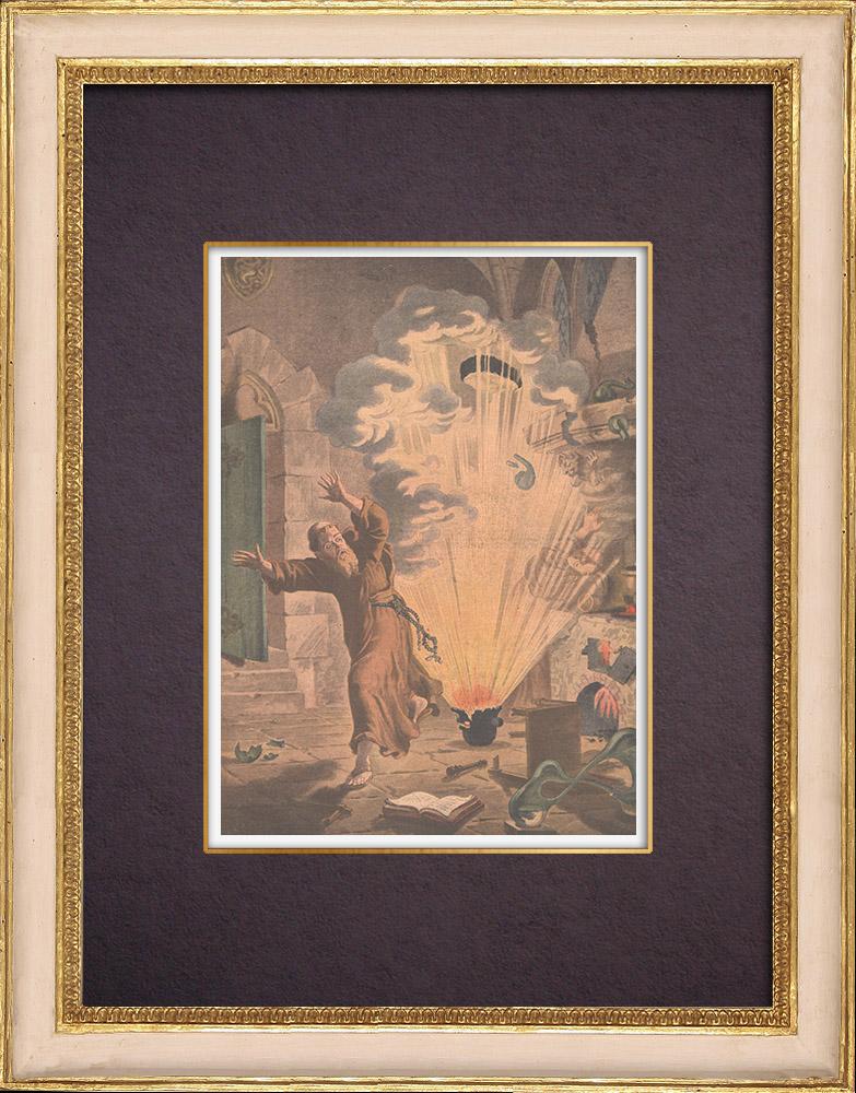 Gravures Anciennes & Dessins | Invention - Explosif - Poudre noire - Moine allemand Berthold Schwarz | Gravure sur bois | 1901