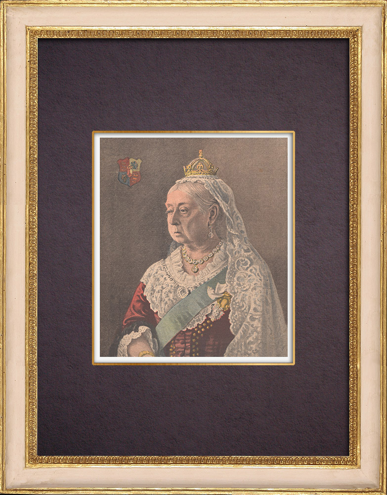 Antique Prints & Drawings | Portrait of Queen Victoria (1819-1901) | Wood engraving | 1901