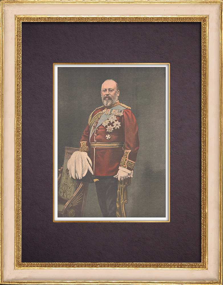 Antique Prints & Drawings | Portrait of Edward VII of England (1841-1910) | Wood engraving | 1901