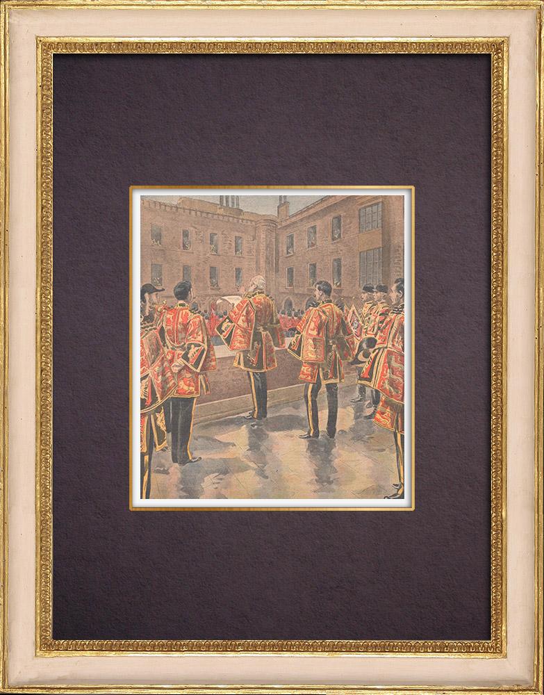 Gravures Anciennes & Dessins | Proclamation du nouveau roi Edouard VII à Londres - 1901 | Gravure sur bois | 1901