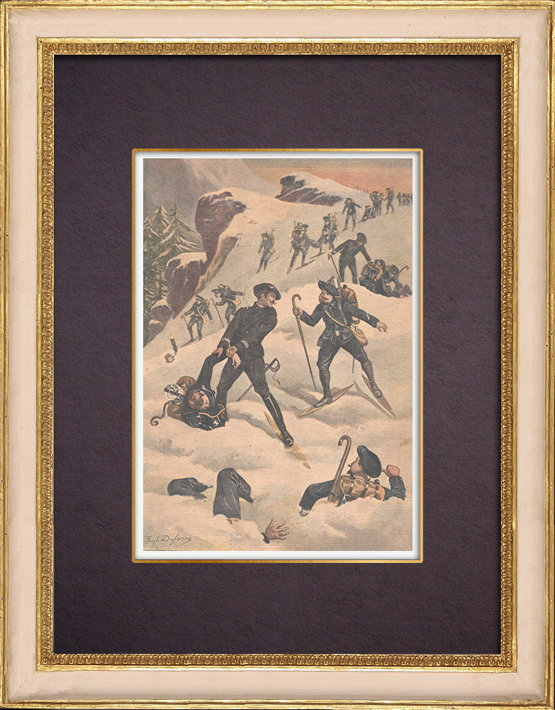 Antique Prints & Drawings | Alpine hunters saved by their comrades at the Raüs pass - France - 1901 | Wood engraving | 1901