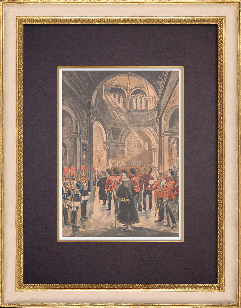 Antique Prints & Drawings   Funeral of Queen Victoria - Frogmore Mausoleum - 1901   Wood engraving   1901