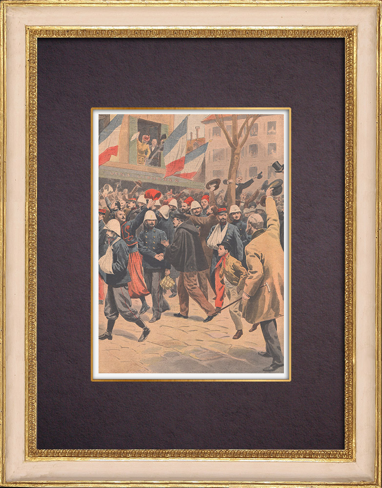 Antique Prints & Drawings | China Expedition - Return of the wounded French in Marseille - France - 1901 | Wood engraving | 1901