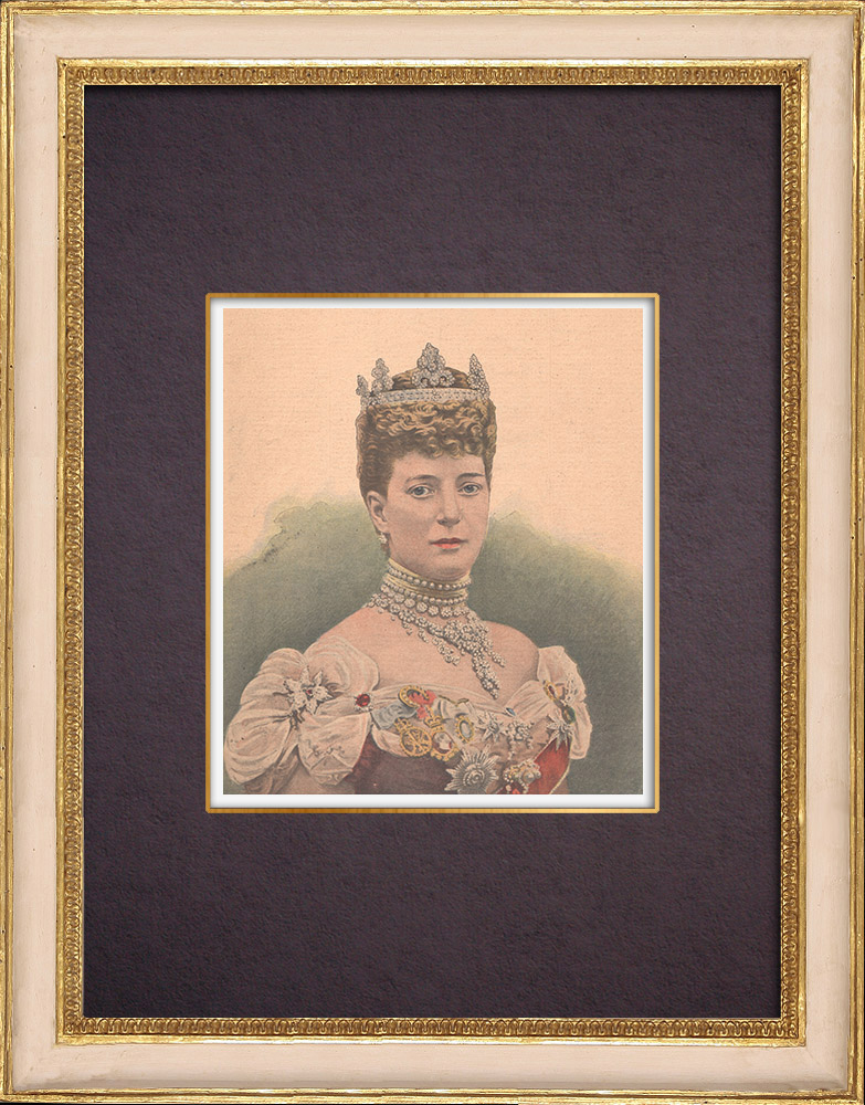 Antique Prints & Drawings | Portrait of Queen consort of the United Kingdom (1844-1925) | Wood engraving | 1901