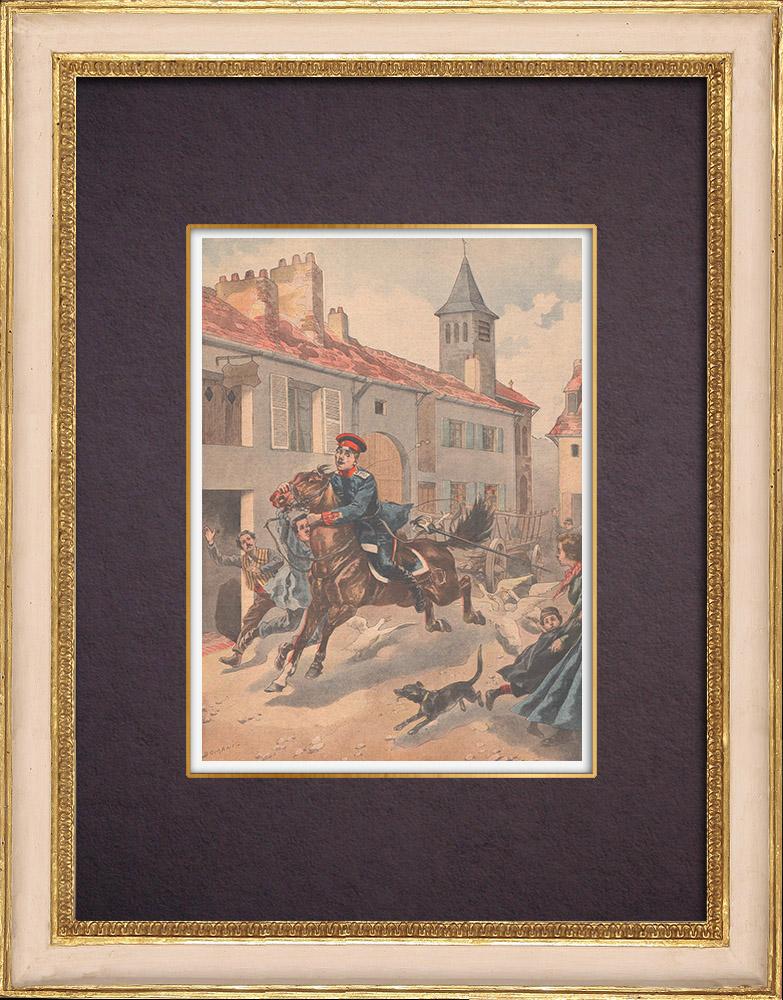 Gravures Anciennes & Dessins | Un garçon arrête un cheval emballé à Auboué - France - 1901 | Gravure sur bois | 1901