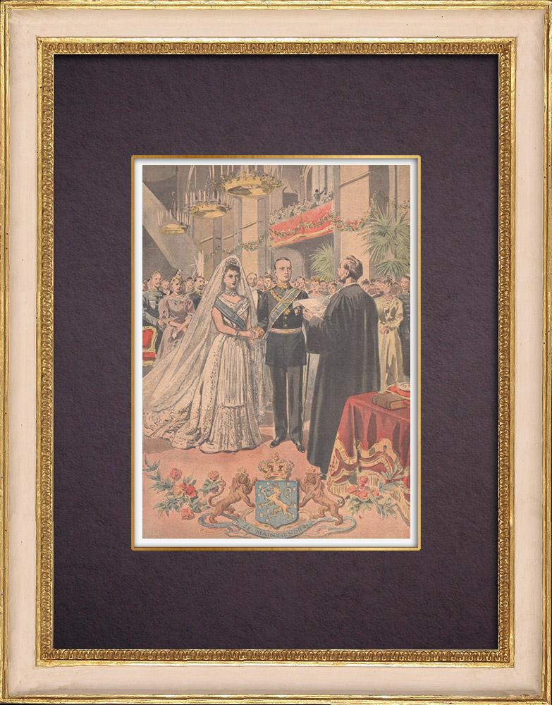 Gravures Anciennes & Dessins | Mariage de Wilhelmine, reine des Pays-Bas et Henri de Mecklembourg-Schwerin - 1901 | Gravure sur bois | 1901