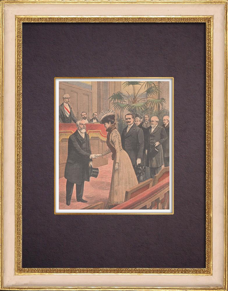 Antique Prints & Drawings   Wedding of Paul Deschanel in Paris - 1901   Wood engraving   1901