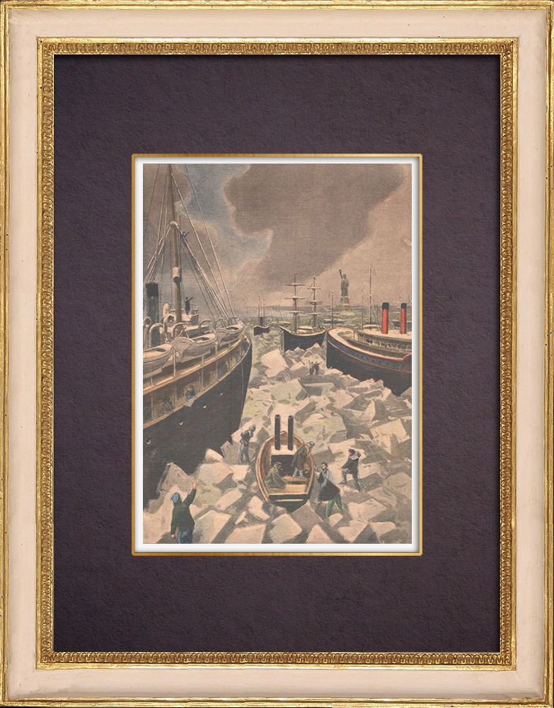 Antique Prints & Drawings | The port of New York in the ice - 1901 | Wood engraving | 1901