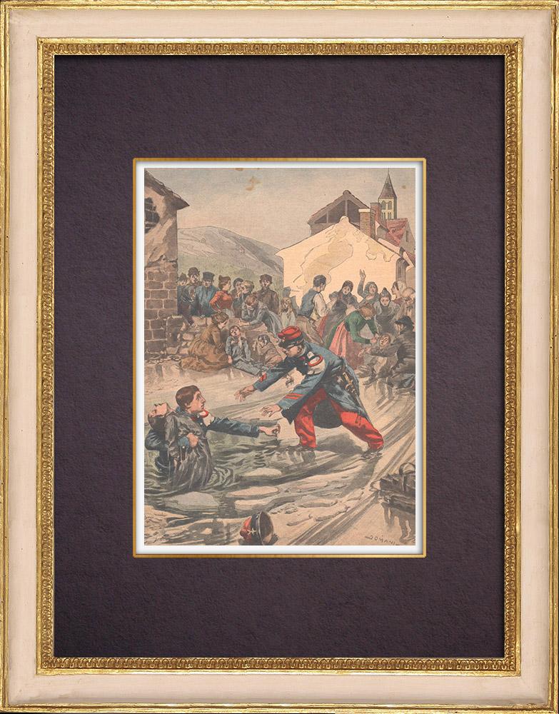 Gravures Anciennes & Dessins | Enfants sauvés de la noyade par deux soldats près de Dijon - France - 1901 | Gravure sur bois | 1901
