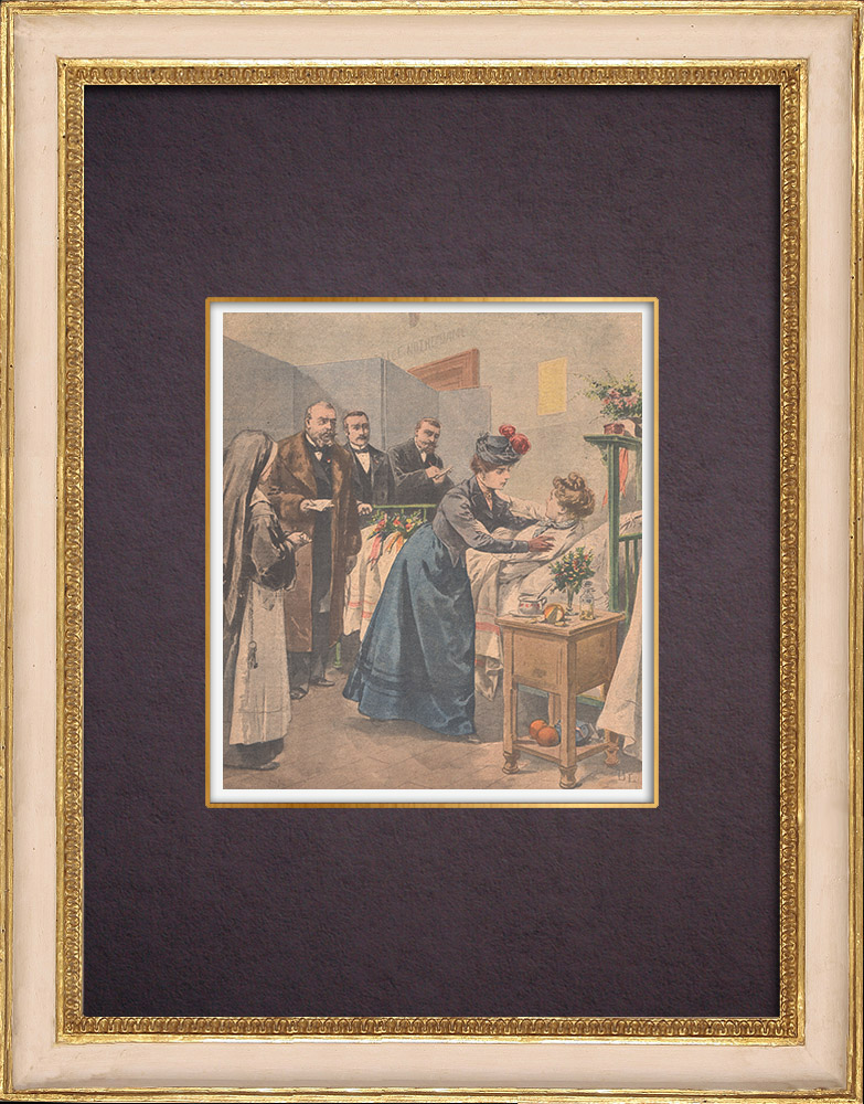 Antique Prints & Drawings | Attempted murder of Emile Deschanel - Confrontation of the two friends | Wood engraving | 1901