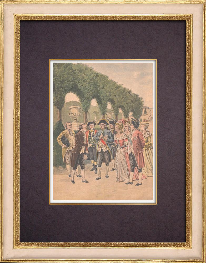 Gravures Anciennes & Dessins   Antoine Parmentier et la Pomme de Terre - XVIIIème Siècle   Gravure sur bois   1901