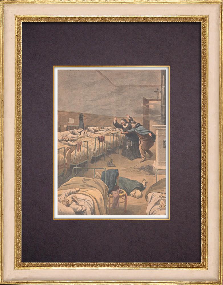 Gravures Anciennes & Dessins | Vieillards asphyxiés dans un hospice de Noisy-le-Sec - Ile de France - 1901 | Gravure sur bois | 1901