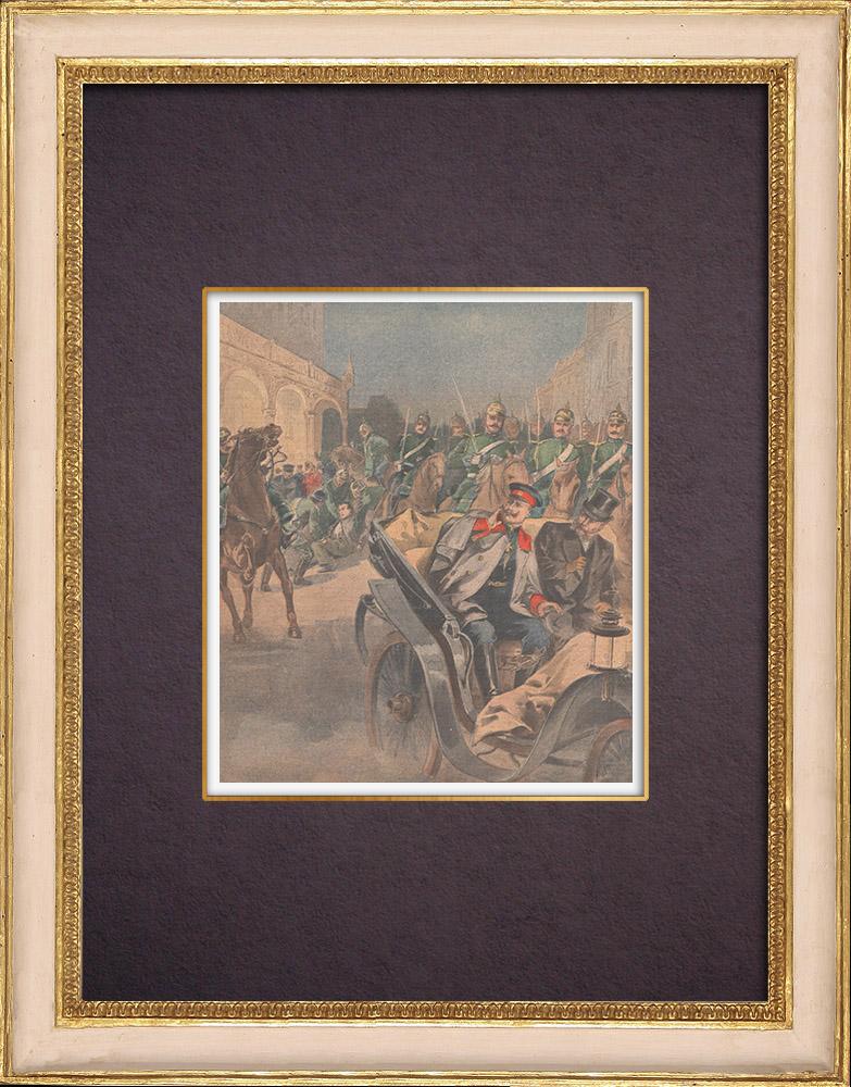 Antique Prints & Drawings | Attack against the German Emperor Wilhelm II at Bremen - Germany - 1901 | Wood engraving | 1901