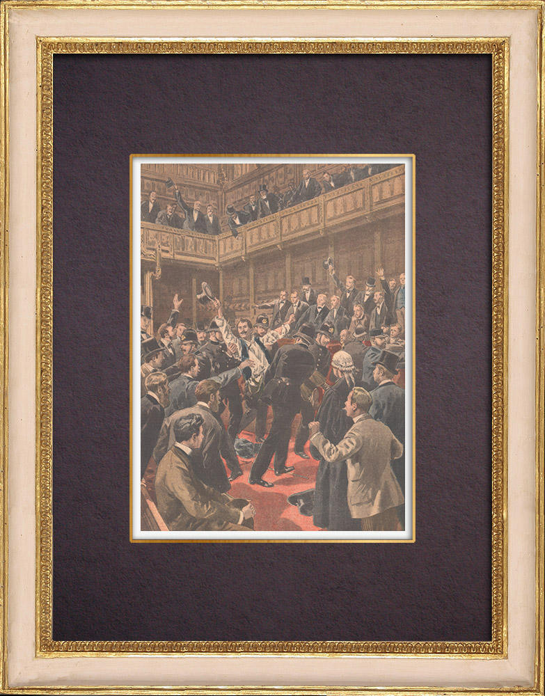 Antique Prints & Drawings | Insurgency of Irish MPs in the House of Commons - London - 1901 | Wood engraving | 1901