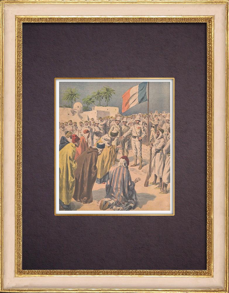Antique Prints & Drawings | South Algeria - Djemâa of Charrouin asks the amân - 1901 | Wood engraving | 1901
