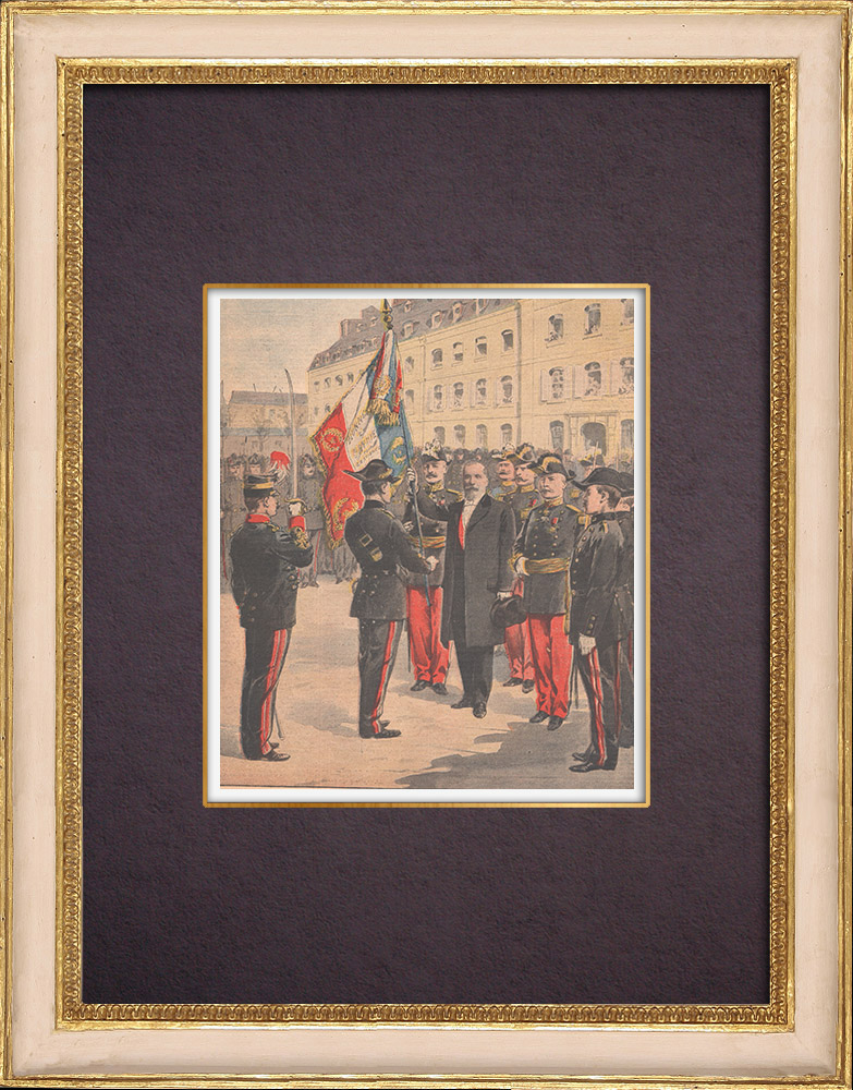 Antique Prints & Drawings   The flag of the Ecole Polytechnique - Paris - 1901   Wood engraving   1901