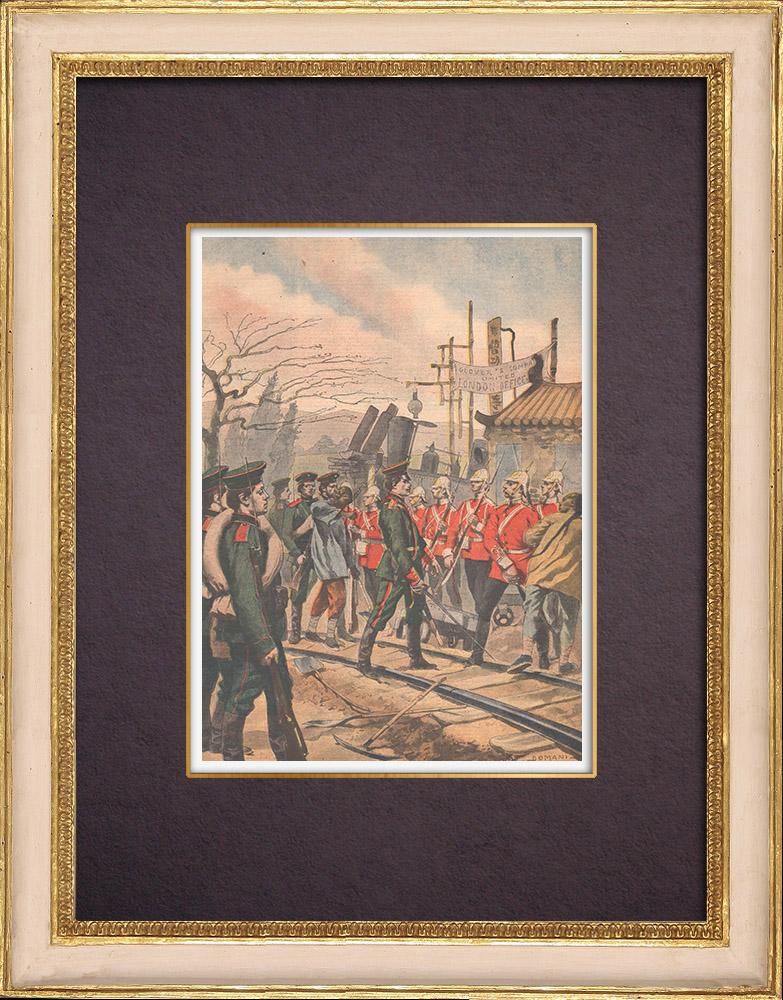 Gravures Anciennes & Dessins | Expédition de Chine - Incident russo-anglais - Chemin de fer - 1901 | Gravure sur bois | 1901