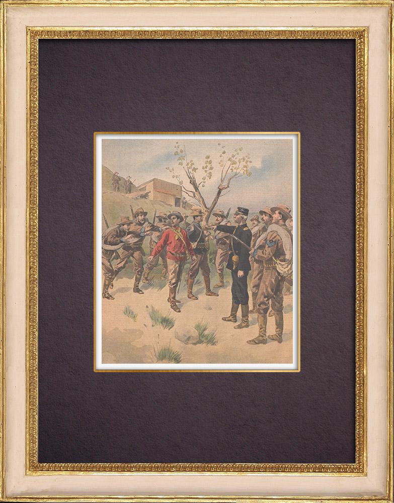 Gravures Anciennes & Dessins | Guerre américano-philippine - Emilio Aguinaldo fait prisonnier - Isabela - 1901 | Gravure sur bois | 1901