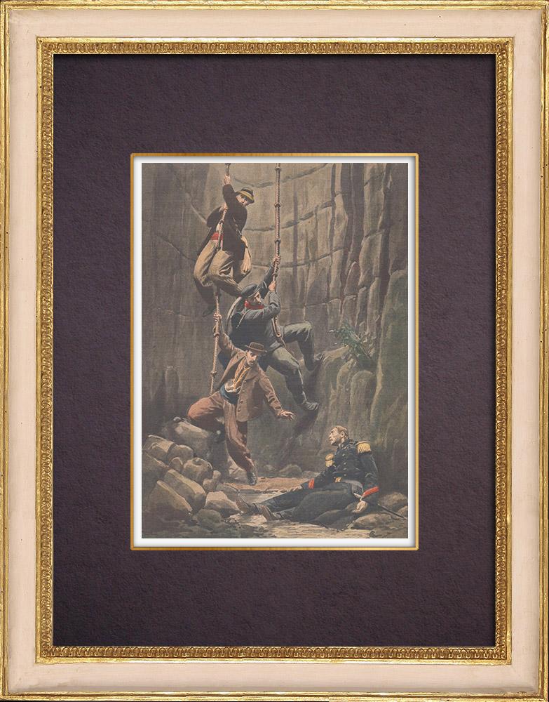 Gravures Anciennes & Dessins | Sauvetage d'un soldat tombé dans un trou depuis vingt-huit jours - Brest - 1901 | Gravure sur bois | 1901