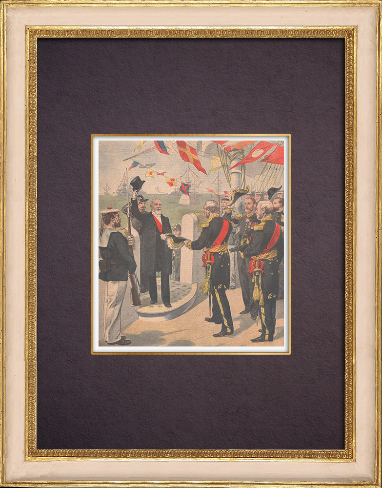 Antique Prints & Drawings | Visit of the President of the French Republic Émile Loubet to Toulon - 1901 | Wood engraving | 1901