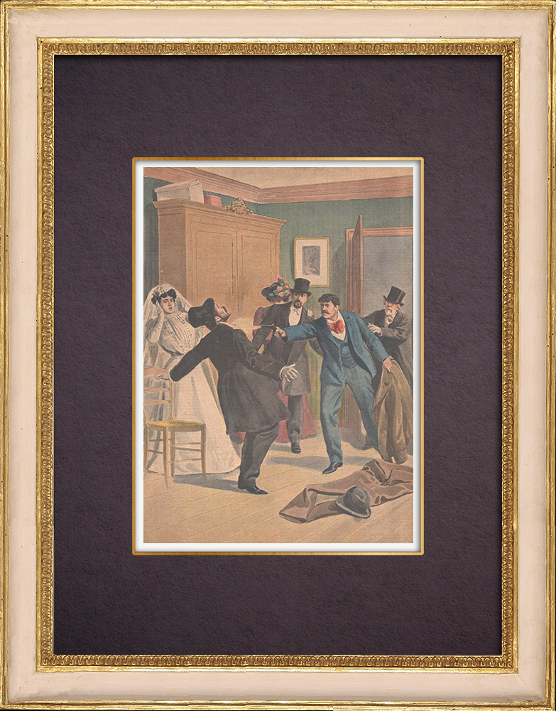 Antique Prints & Drawings | A man kills his father on the day of his marriage in Marseille - 1901 | Wood engraving | 1901