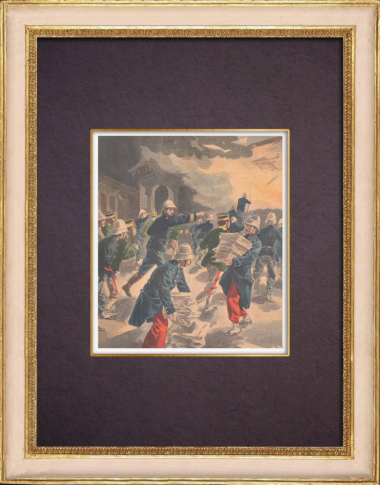 Gravures Anciennes & Dessins | Expédition de Chine - Incendie du Palais de l'Impératrice - Pékin - 1901 | Gravure sur bois | 1901