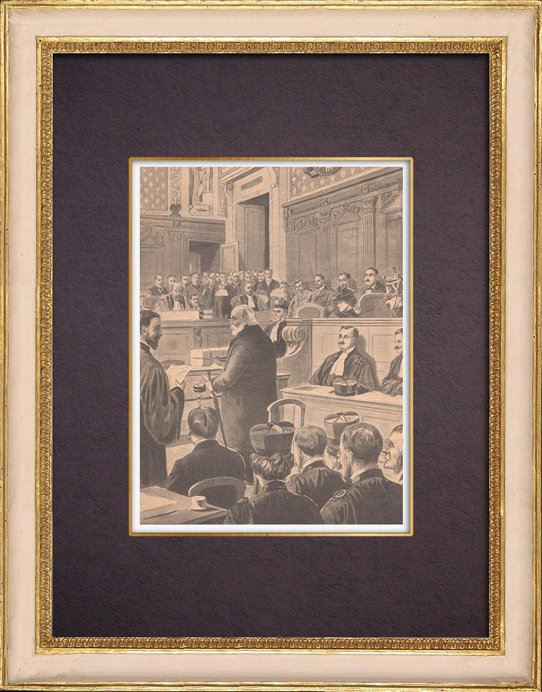 Gravures Anciennes & Dessins | Procès de Vera Gelo à la Cour d'Assises - Paris - 1901 | Gravure sur bois | 1901