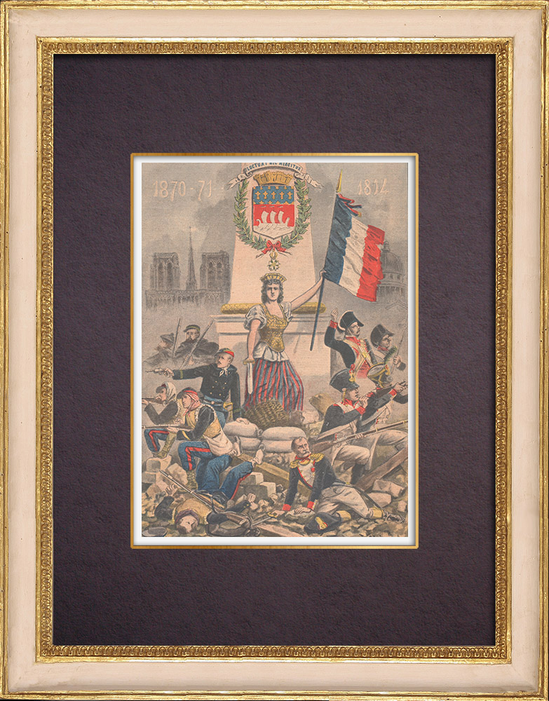 Antique Prints & Drawings   Coat of arms of Paris - Legion of Honour - 1901   Wood engraving   1901