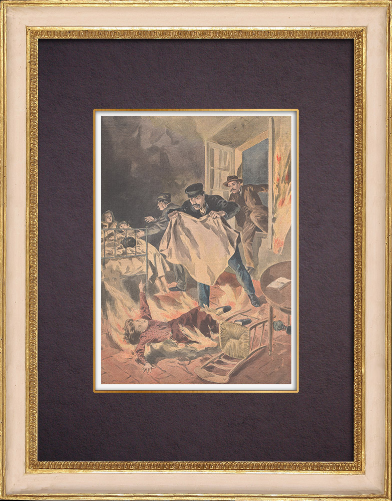 Antique Prints & Drawings | A girl dies in a fire, saving her brothers - Sucy-en-Brie - Île-de-France - 1901 | Wood engraving | 1901