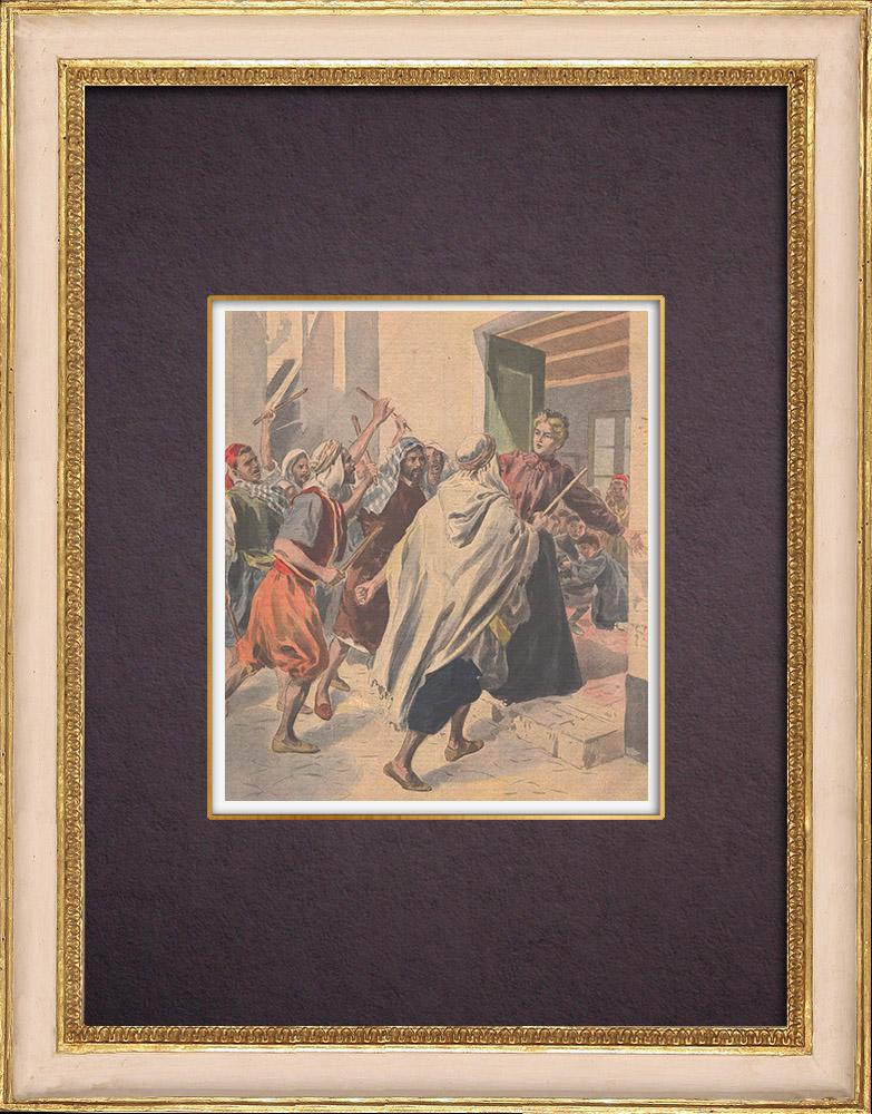 Gravures Anciennes & Dessins | Insurrection à Margueritte près de Miliana - Algérie - 1901 | Gravure sur bois | 1901